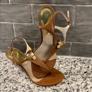 Michael Kors Tan and Gold Leather Sandals